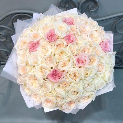 Шик и изысканность. 59 нежных роз с интенсевным ароматом.