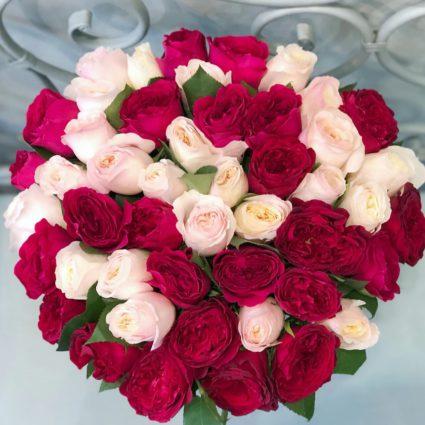 Страстный микс 49 роз Дэвид Остин для Вашей возлюбленной