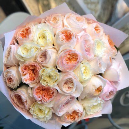 Любимые, невероятные, нежные розы сортов David Austin. Букет из 31 розы