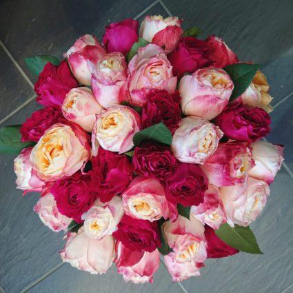 Букет из пионовидых Японских роз Princess Suki и роз David Austin. 35 роз
