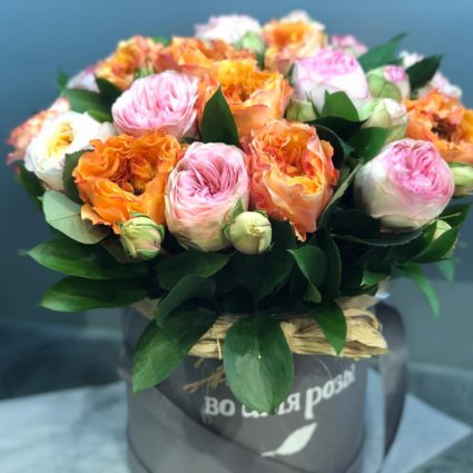 21 ароматная садовая роза в шляпной коробке